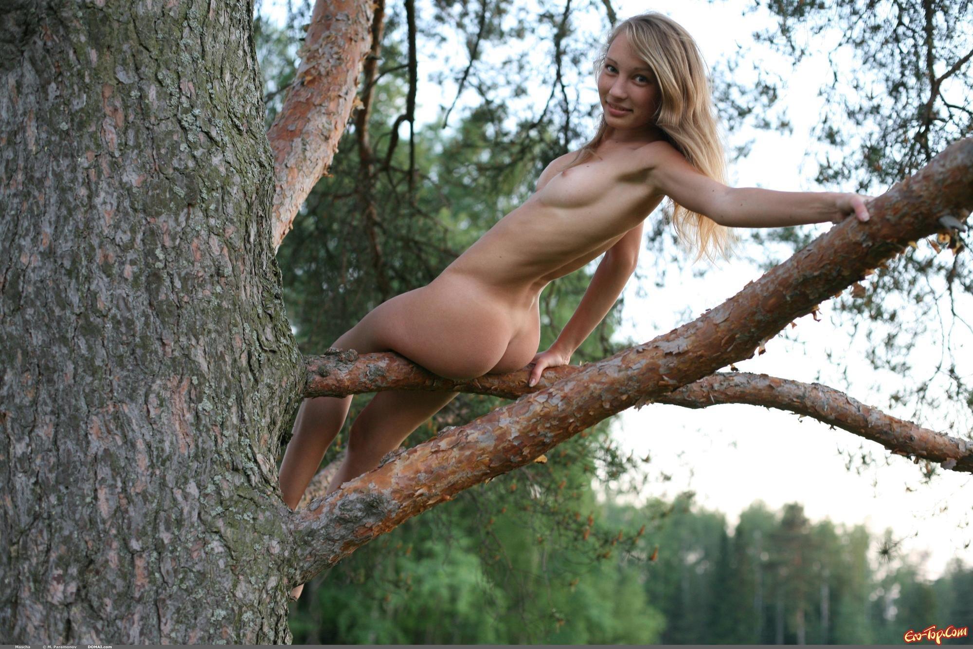эро фото на дереве брюнеткой хуй